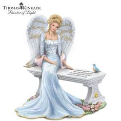 Handcrafted and hand-painted angel figurine features etched lace designs, a Swarovski crystal necklace and touching sentiment inscribed on the bench.