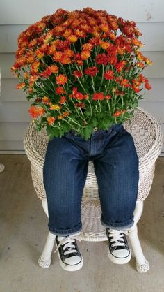 Baby blue jeans planter with high top shoes.