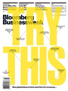 """Try This"" Bloomberg Businessweek #typography #helvetica #yellow"