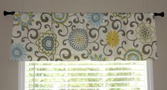 """Waverly Pom Pom Play Spa Valance 50"""" wide x 16"""" long Big Bold Flowers Lined with Cotton Muslin Blue Yellow Teal Putty Floral. $45.00, via Etsy."""