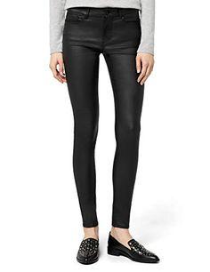 Vero Moda Vmseven NW S.Slim Smooth Coated Pants Pantalon Femme Noir (Black  FR 3b05f46dfd5