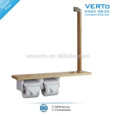 wood toilet paper holder with shelf and grab bar