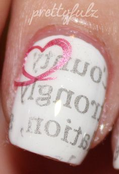 I am obsessing over these love letter nails! It uses the technique of transferring words to nails (with alcohol), but it's the shimmery pink swipe of a heart that I am LOVING!