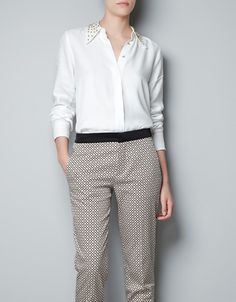 SHIRT WITH STUDDED COLLAR - ZARA  $59.99  Simple & elegant for all of her occasions.