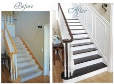 Staircase makeover- remove carpet & add contrast with light paint/dark stain and wainscoting