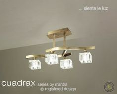 Cuadrax is a modern contemporary lighting collection from Mantra Lighting The Cuadrax Semi Ceiling Light has an antique [… Semi Flush Ceiling Lights, Ceiling Lamp, Light Fittings, Polished Chrome, Glass Shades, Antique Brass, Clear Glass, Mantra