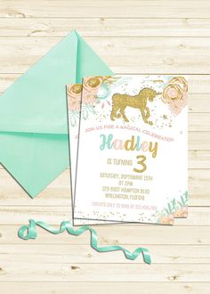 Items similar to Gold Glitter Unicorn Party Invitation, Magical Unicorn First Birthday Invitation on Etsy