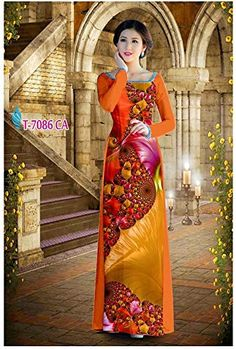 Silk 3D ADVN1468 Ao Dai Traditional Vietnamese Long Dress Collections with Pants