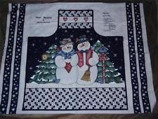 Snow Buddies Snowman Apron Screenprint Fabric Panel By Dianna Marcum