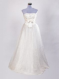 Ivory Strapless Beaded and Sequined Ball Gown with Bowknot - USD $114.00