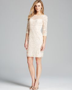 Sue Wong Dress - Three Quarter Sleeve Lace Illusion Neckline | Bloomingdale's