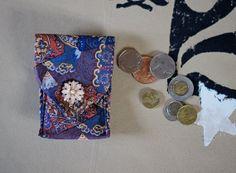 MySparePocket: 2nd! Make-Up Pocket Card Wallet Coin Purse Phone Holder Ipod Holster - anything pocket! From Blue/burgundy upcycled Necktie