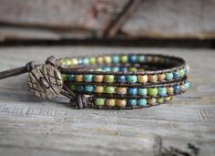 Beaded Leather Wrap Bracelet Boho Style Wrap Bracelet by BeadnFarm