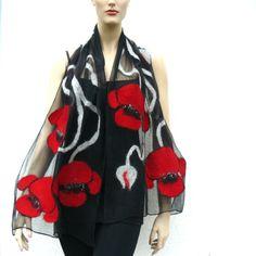 Nuno Felted Scarf merino wool silk floral Nuno by MajorLaura Nuno Felt Scarf, Wool Scarf, Felted Scarf, Recycled Dress, Cloth Flowers, Red Flowers, Handmade Scarves, Silk Wool, Nuno Felting
