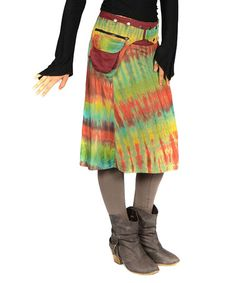 Another great find on #zulily! Green & Red Tie-Dye Wrap Midi Skirt by Jayli #zulilyfinds