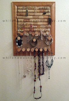 11x14 Cork & Burlap Framed Jewelry Organizer by WhileHeWasNapping, $75.00