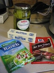 """LJ: By far the best recipe I have tried. I wont make a roast any other way now. Mississippi Roast - - Put chuck roast in crock pot, Sprinkle with Hidden Valley ranch dressing, add McCormick Au Jus mix, a stick of butter, 5 pepperoncini peppers. DO NOT ADD WATER. Cook on low for 7-8 hrs"""" data-componentType=""""MODAL_PIN"""