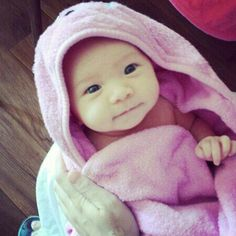 Korean baby in a towel! So cute! Little baby!