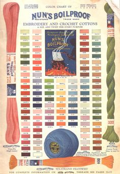 "Vintage Color chart for ""Nuns Boilproof Cotton Perle"""