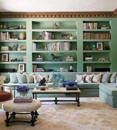 green built in bookshelfs
