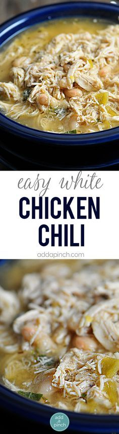 White Chicken Chili makes a delicious meal full of spicy chili flavor, white beans and chicken. You'll love this easy White Chicken Chili recipe. // addapinch.com