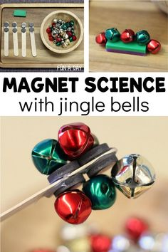 Explore magnets with jingle bells - a great Christmas science activity for preschool! Super easy to set up, and there's just something so engaging about jingle bells. My preschoolers played and experimented for hours!