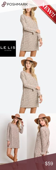 """""""Carrie"""" Floral Printed Short Tunic Dress """"Carrie"""" Floral Printed Short Tunic Dress Printed Short tunic dress Color ~ Taupe Floral Pattern Fabric ~ 100% polyester, Woven Long sleeves, perfect to dress with cardigans and jackets in a beautiful floral print!   . Le Lis Dresses Mini"""