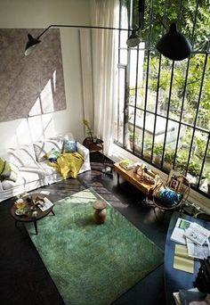 loft, industrial, lots of light, living room, amazing....
