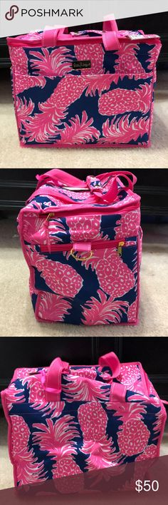 NWT Lilly Pulitzer Pineapple Insulated Cooler Beautiful bright pink and navy pineapple/leopard print insulated cooler!  So beautiful.  can even be used as a beach or stadium bag, as it's easy to wipe clean on the inside!  This bag does NOT include the shoulder strap.  Reasonable offers always considered via offer button.  Check out the rest of my NWT Lilly in my closet! Lilly Pulitzer Bags