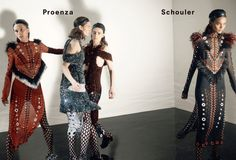 Anne Catherine Lacroix, Karolin Wolter, Liisa Winkler, Liya Kebede by David Sims for Proenza Schouler Fall Winter 2015-2016 1