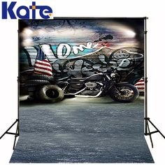 5ft*6.5ft(150cm*200cm)Kate Photography Backdrops Hip-Hop Motorcycle Photography Backgrounds Photographic Photo Studio Background