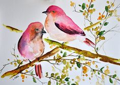 ORIGINAL Watercolor Painting Two Colorful Pink Birds, Watercolor Flowers Illustration 6x8 inch
