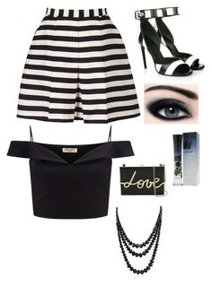 """Black and white and stripes"" by projectalice5 on Polyvore featuring Reiss, Lipsy, Givenchy, Giorgio Armani, Lanvin and Bling Jewelry"