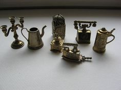 Vintage Miniatures/ Doll House Accessories//Collection of 7//