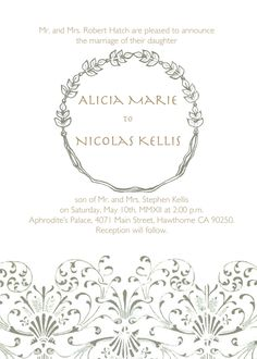Grecian Style Wedding Invitation Natural Earthy by deliveredbyhand
