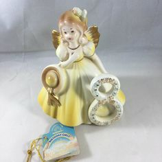 A nice Applause version of the Josef Originals 8 Birthday Girl and includes the original hang tag. Birthday Angel, 8th Birthday, Bride Dolls, First Communion, Hang Tags, Art Decor, Glass Art, Objects, Wraps