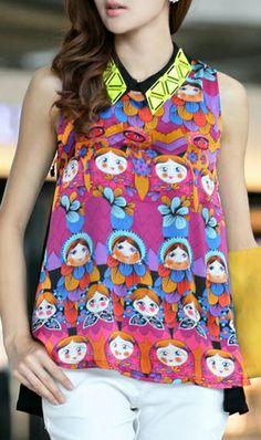 Sleeveless lapel chiffon blouse 5038 nice