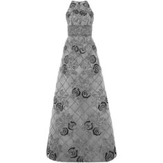 Naeem Khan A-Line Organza Gown (508,995 PHP) via Polyvore featuring dresses, gowns, high neck evening dress, high neck gown, metallic dress, floral print evening gown and beaded evening gowns