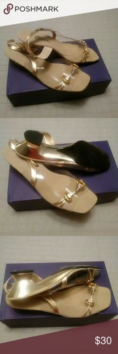Onex dress shoes Gold bling-bling. Block heel 2 inch. Clear plastic. Preown. SOme am. On just the plastic.  Not noticeable. onex Shoes Heels