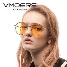 VMOERS Yellow Lens Sunglasses Women Aviator High Quality Metal Shades Female Brand Designer Piolt For Women Oculos
