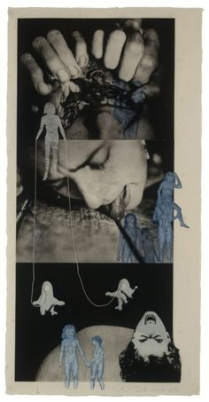 """inneroptics: """"Kiki Smith, Puppet, Photogravure with etching, aquatint, and additions of collage and string """" Kiki Smith, Photomontage, Art Du Collage, Surrealist Collage, Whitney Museum, Wow Art, Art Graphique, Dark Art, American Art"""