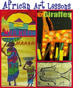 African Art Lessons - $5 pdf with lessons for 4 projects: African huts, Torn paper giraffes, Senufo Mud Cloth, Maasai Figure Drawings