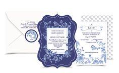 Blue China Wedding invitation set. Digital. RSVP. by NellieandCo, $35.00