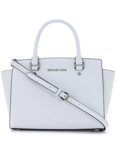 MICHAEL KORS Michael Kors Selma Handbag In White Saffiano Leather. #michaelkors #bags #shoulder bags #hand bags #leather #lining #