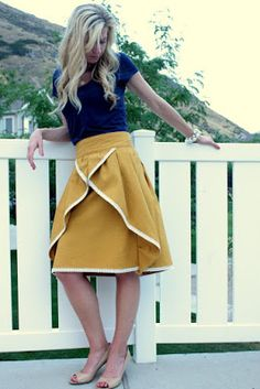 The Pinwheel Skirt Tutorial by Elle Apparel | U Create <--this would be super cute, especially with the front panel being a different fabric from the back and front ruffles.