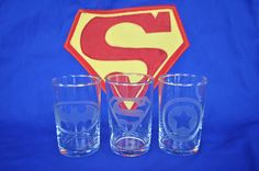 Etched Super Hero Glasses - my son LOVES Superheroes, so I might have to make these!