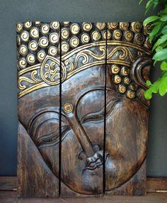 Buddha Head 3 Piece Wall Panel   www.balimystique.com.au