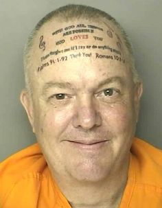 "Pious South Carolina man Robert Norton Kennedy, who was arrested for assault and battery, has a spectacular tattoo quoting Matthew 19:26, ""With God All Things Are Possible,"" along with some musical notes."