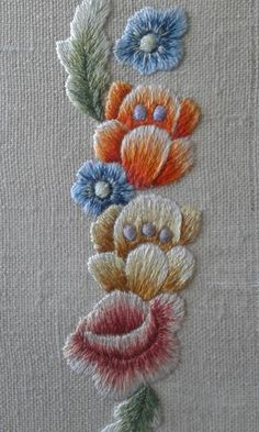 Hand emnroidered silk flowers by Embroidery Is Vital