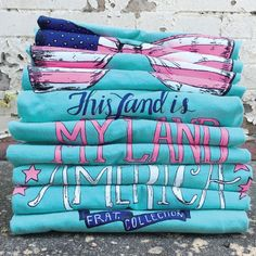 This Land is My Land | Fraternity Collection Land Of The Brave, My Land, Fraternity Collection, Marley Lilly, Happy Fall Y'all, Monogram Gifts, School Fashion, Printed Tees, Lakeside Cotton